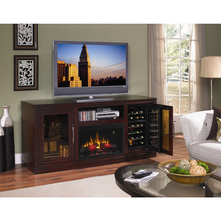 Tv Stand Fireplace Wine Rack In 2019 Electric Fireplace Entertainment Center