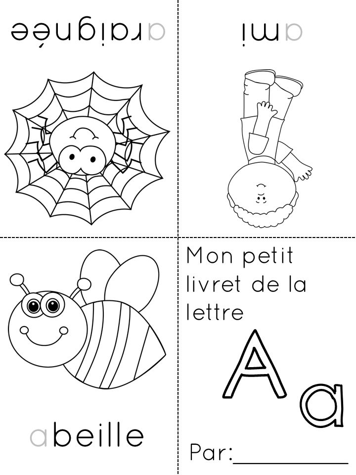 foldable French alphabet coloring booklets -- each sheet consists of the letter and three objects that begin with that letter -- the first three are available as a free sample and the whole set can be downloaded for $4