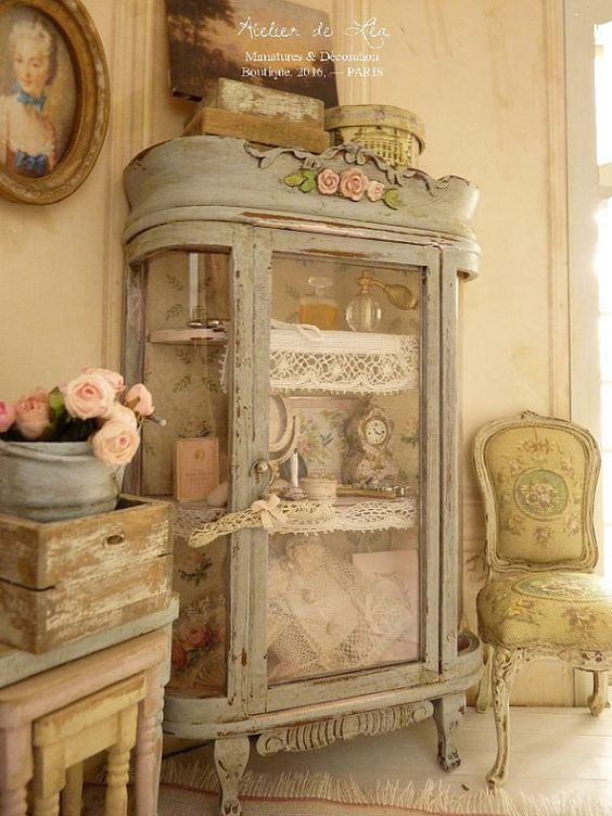 Romantic curio Boudoir, Shabby blue gray Toits de Paris, Corset and feminine accessories, Miniature house furniture in 1:12th scale Curio in wood,