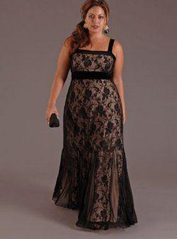 Sexy robes de soirée noires de taille plus