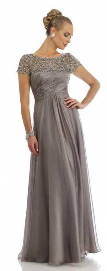 Mother's Day will come. Dress Recommendations for Lovely Mom. Grey Mother of the Bride Dresses Scoop Beading Floor Length Elegant Zipper A Line Chiffon Evening Gowns
