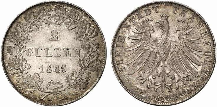 AR Double Gulden. Germany Coins, Frankfurt, Free City. 1845. 23,23g. KM 333. EF.  Starting price 2011: 560 USD. Unsold.