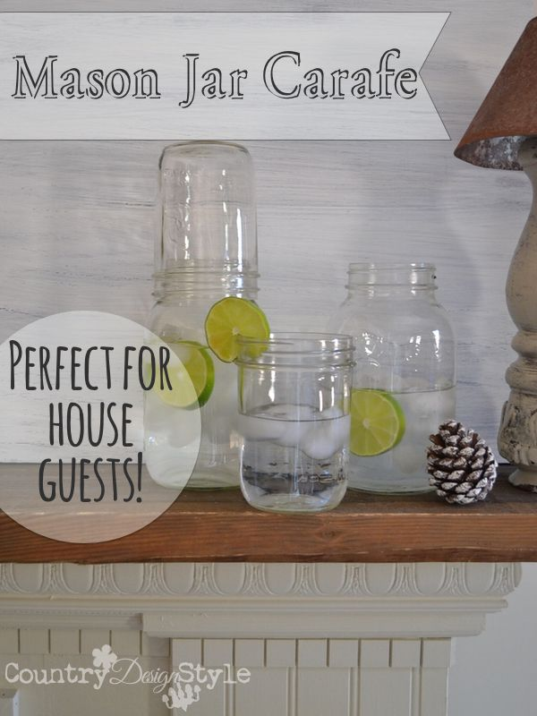 A simple and inexpensive idea for a bedside carafe farmhouse style! A dozen bedside carafes for house guests for the price of one store bought carafe.