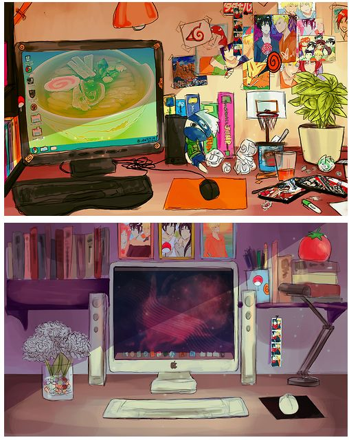 Aww, look at the picture next to Sasuke's computer!