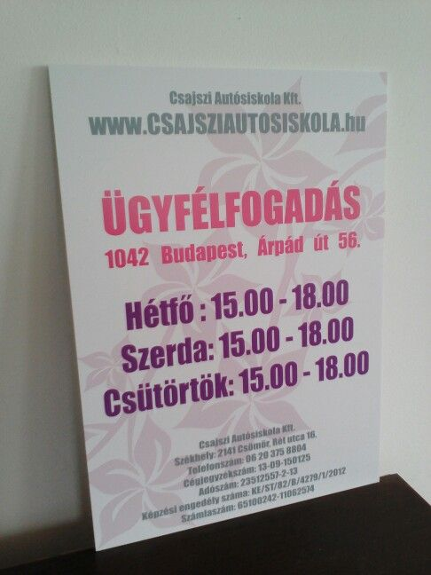 Advertisin board for a women-only driving school (CsajsziAutosiskola)