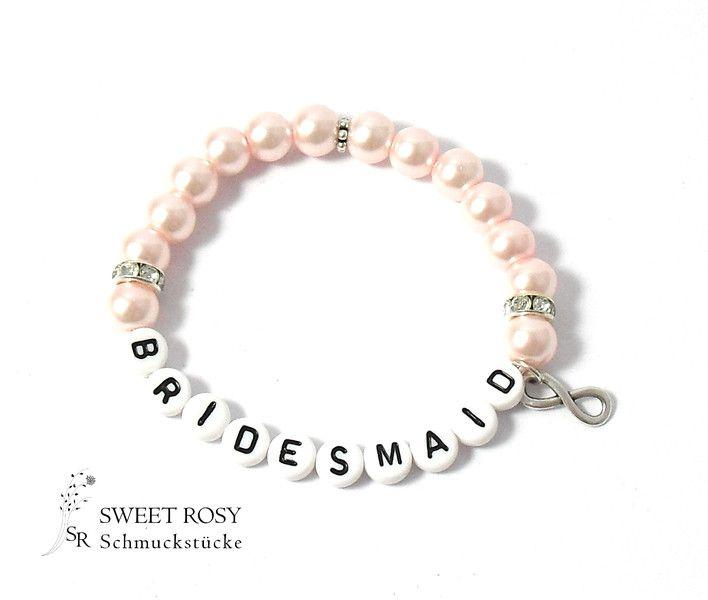 Accessoires - Armband Bridesmaid Infinity Geschenk Hochzeit rose Unendlichkeitszeichen rosa Strass glitzer Buchstaben Bridesmaid - ein Designerstück von sweetrosy bei DaWanda