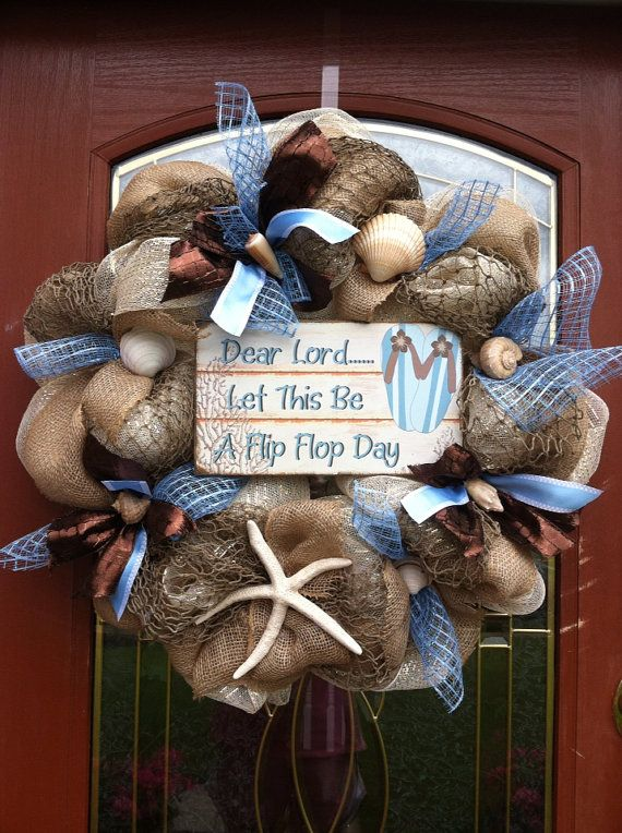 Beach theme and seashells and flip flops wreath deco by lawler01, $44.99