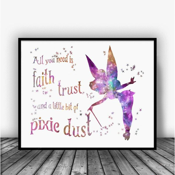 Tinkerbell Quote Art Print Poster Disney Quote Art And Kid