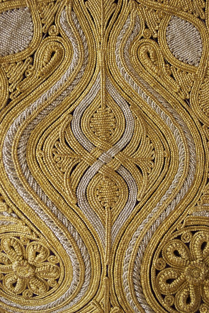 Detail of gold embroidered work on vest (pirpiri), Ottoman, late 19th-early 20th century, KSUM 1983.1.2441.