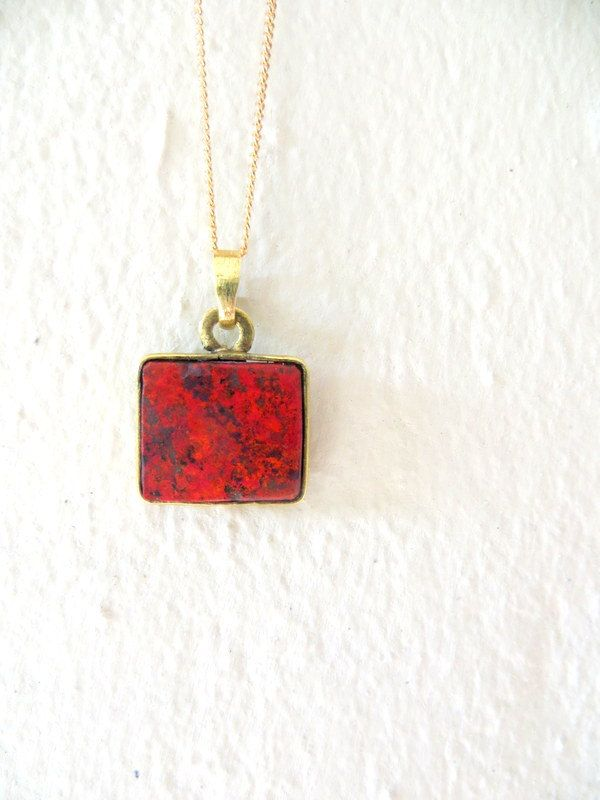Cuprite and brass pendants by Picossa on Etsy