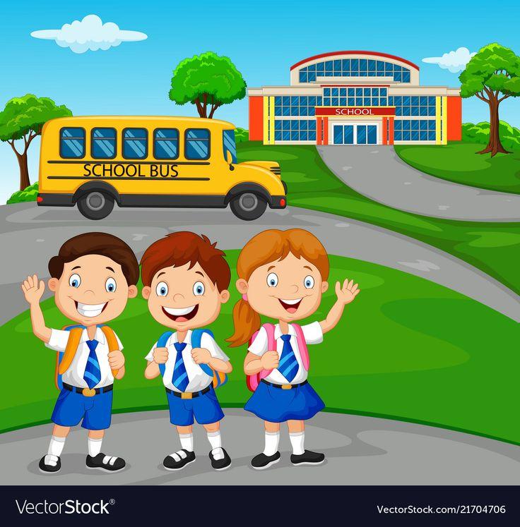 Happy School Children In Front Of The School Vector Image On