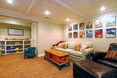 Home Basement Decorating Ideas example of a lounge with kids play area