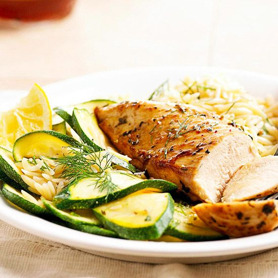 Our Herbed Chicken, Orzo, and Zucchini only takes 20 minutes to make! More Mediterranean recipes here: http://www.bhg.com/recipes/healthy/healthy-mediterranean-diet-recipes/?socsrc=bhgpin060914herbedchicken&page=18