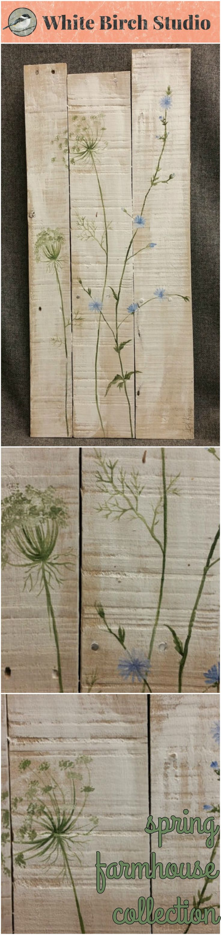 Pallet art, wild flowers, Spring FARMHOUSE collection, White wash, Queen Ann Lace, Rustic shabby, Reclaimed pallet wood  This white washed piece would be a great, personal touch to your Spring and Summer decor at home or at your cottage.   Dimensions are 11 inches wide x 26 inches high