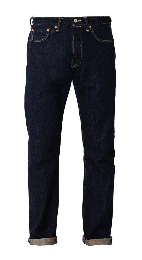 M S 501 Bottom Crispy Rinse Premium Indigo by LEVI'S. A fit that's straight through the hip. With indogo color, belt loops, with stitching accent, front pockets, belt loops and patch logo. Regular fit.  http://www.zocko.com/z/JHh3t