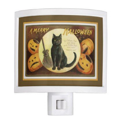 #A Merry Halloween Black Cat and Pumpkins Brown Night Light - #Halloween happy halloween #festival #party #holiday