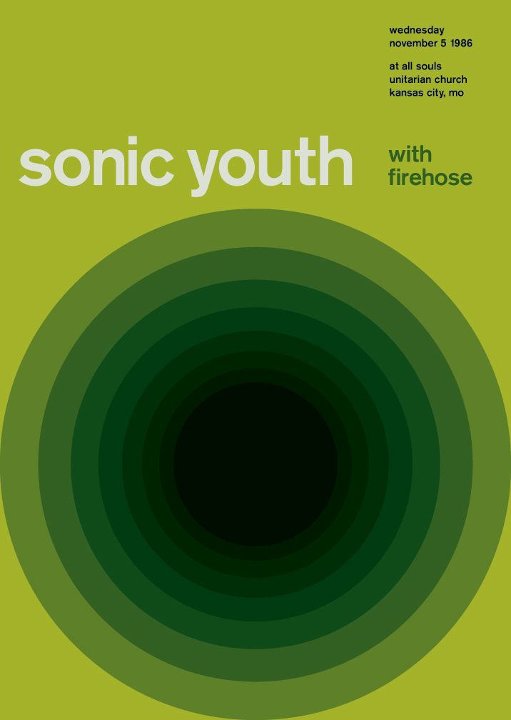 sonic youth at all souls, 1986 - swissted by mike joyce
