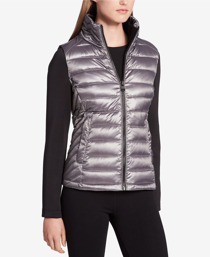 Calvin Klein Performance Down Filled Puffer Jacket Looks Like A Vest But With Built In Sleek Blac Athleisure Activewear Puffer Vest Outfit Moto Jacket Outfit