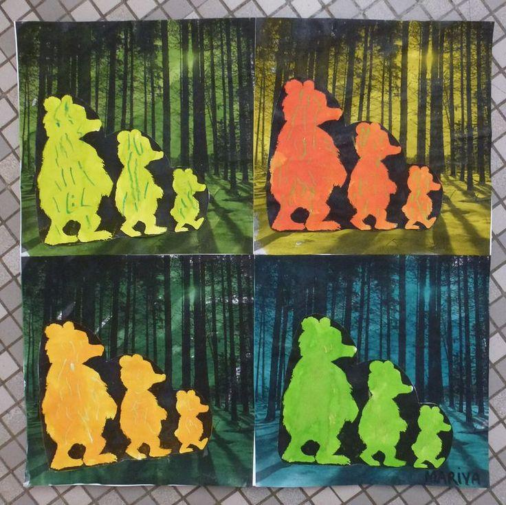Boucles d'or et les 3 ours à la manière d'Andy Warhol