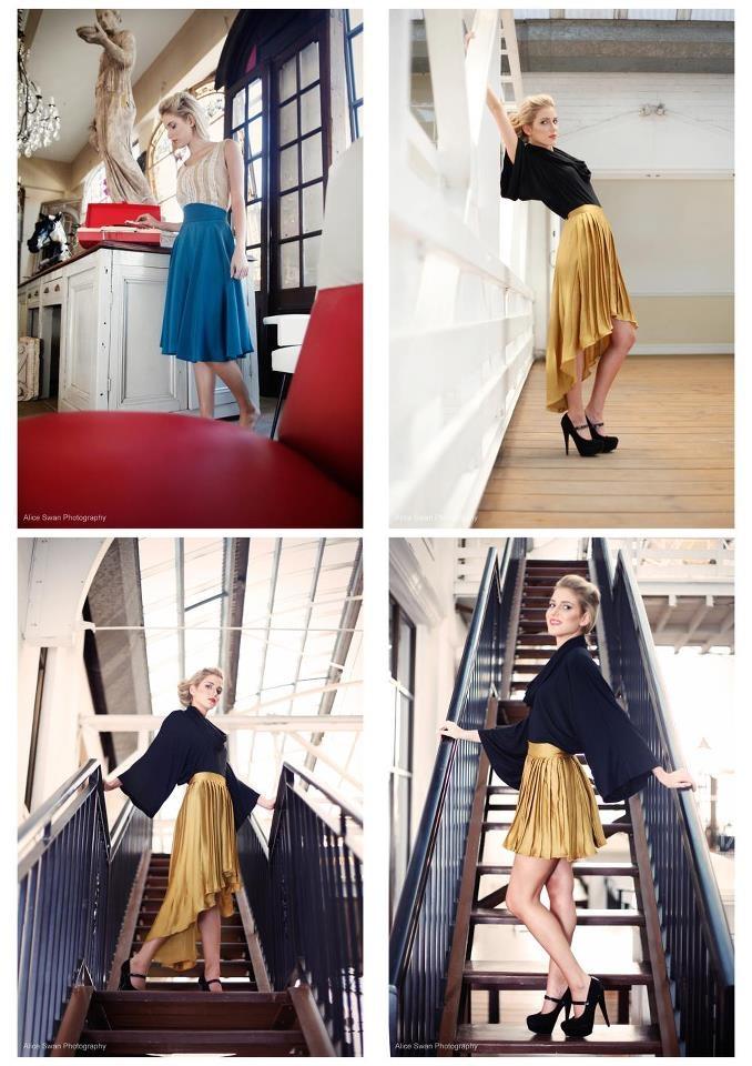 Gold sharkbite skirt