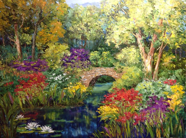 """Bridge with Lilies"", 2015;  by Artist J. Guess; Oil on Canvas; 48""wide x 36""high.  Available through Filsinger Fine Art, Palm Desert, CA"