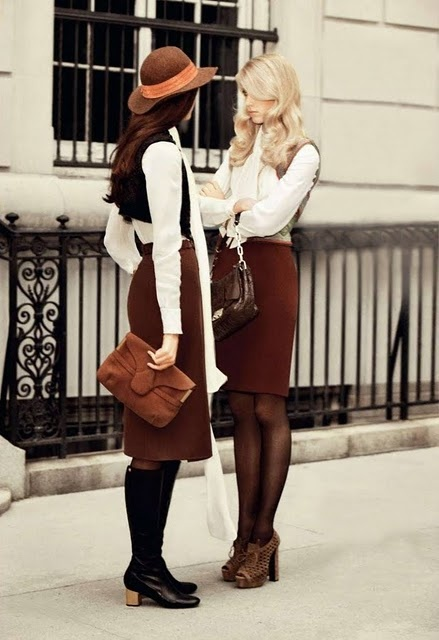 Mrs. Brown, Mrs. White. Brown and White. Fresh and crisp. Pinning Brown and White for fall time town.
