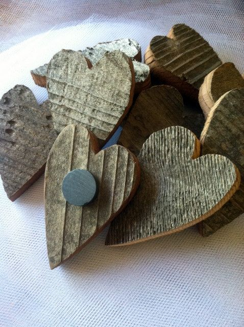 Rustic Wedding Favor Reclaimed Wood Heart Magnets. $125.00, via Etsy.