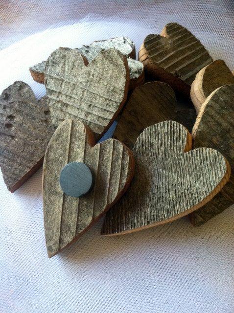 Rustic Wedding Favor Reclaimed Wood Heart Magnets. $125.00, via Etsy.