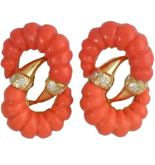 Fluted Coral and Diamond Earrings
