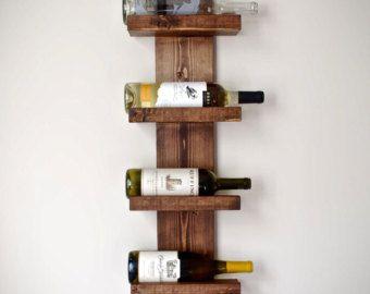 Rustico portabottiglie, portabottiglie verticale, rustico moderno vino Rack