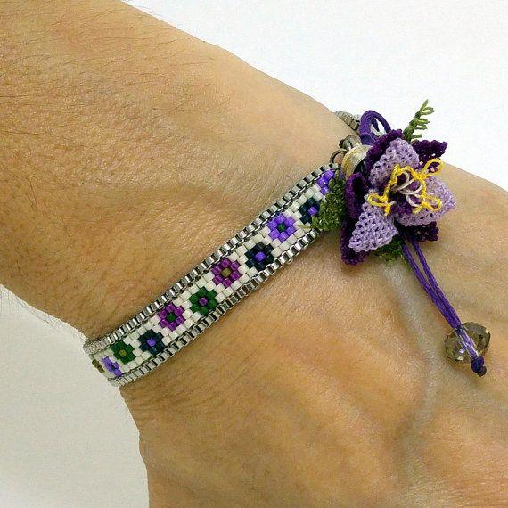 Wrap Bracelet Beadwoven Bracelet Delica Beads by NazoDesign