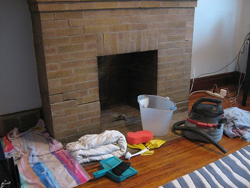 how to clean fireplace bricks with vinegar