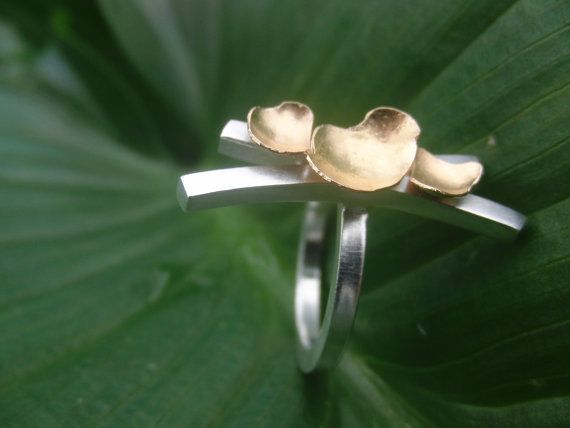 statement ring  gold 19.2k  sterling silver by AMjewelryStudio
