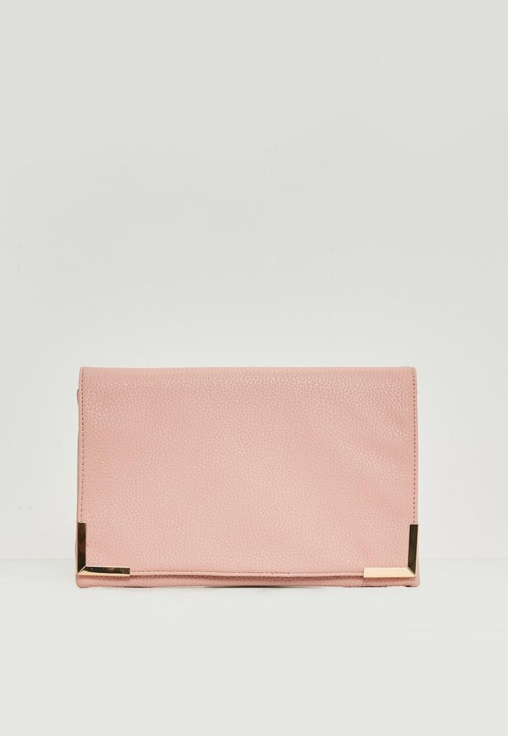 Missguided - Pink Metal Edge Clutch Bag