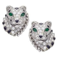 Cartier Diamond, Onyx, and Emerald Panthere Earclips