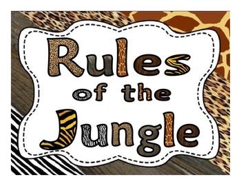 Jungle Themed WBT Classroom Rules Posters1. Follow directions quickly!2. Raise your hand for permission to speak.3. Raise your hand for permission to leave your seat.4. Make smart choices!5. Keep your teacher happy!For use in any room with a jungle, zoo, or animal print theme.Please be sure to leave feedback and check out my other products!