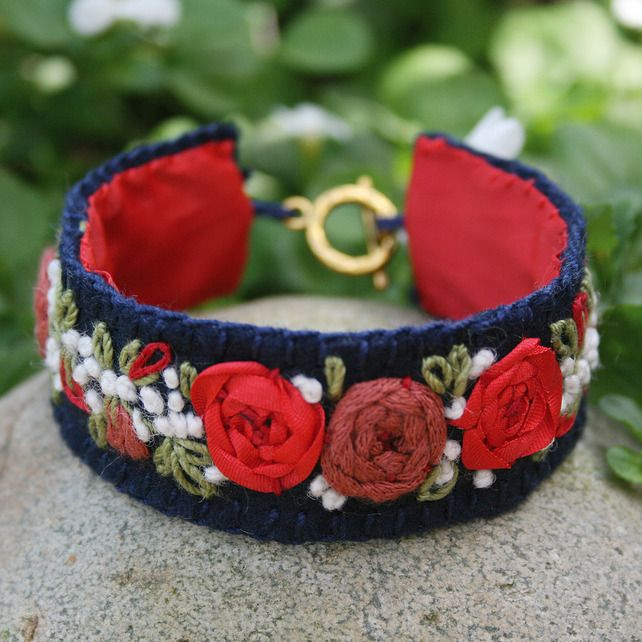 Embroidered Bracelet - Red Rose Garland on Felt £12.00