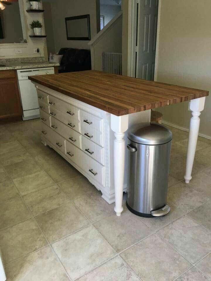 Repurposed Old Dresser Turned Into Kitchen Island Dresser Kitchen Island Simple Kitchen Design Simple Kitchen