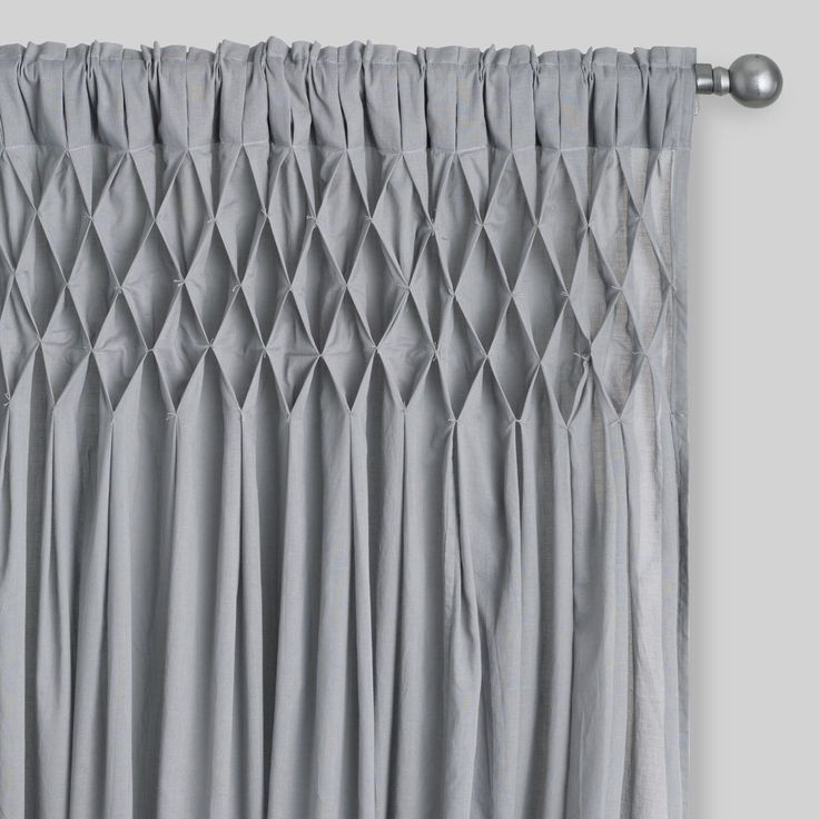 Gray Cotton Smocked Sleeve Top Curtains Set Of 2 By World