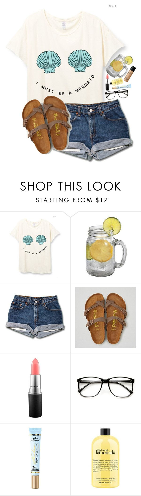"""""""Should I buy Birkenstocks?"""" by lacrosse-19 ❤ liked on Polyvore featuring American Eagle Outfitters, MAC Cosmetics, Too Faced Cosmetics, philosophy and Bare Escentuals"""