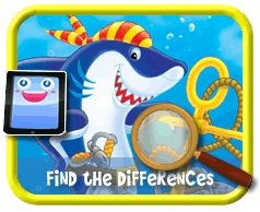Cartoon Shark - Find the Differences Game for Kids