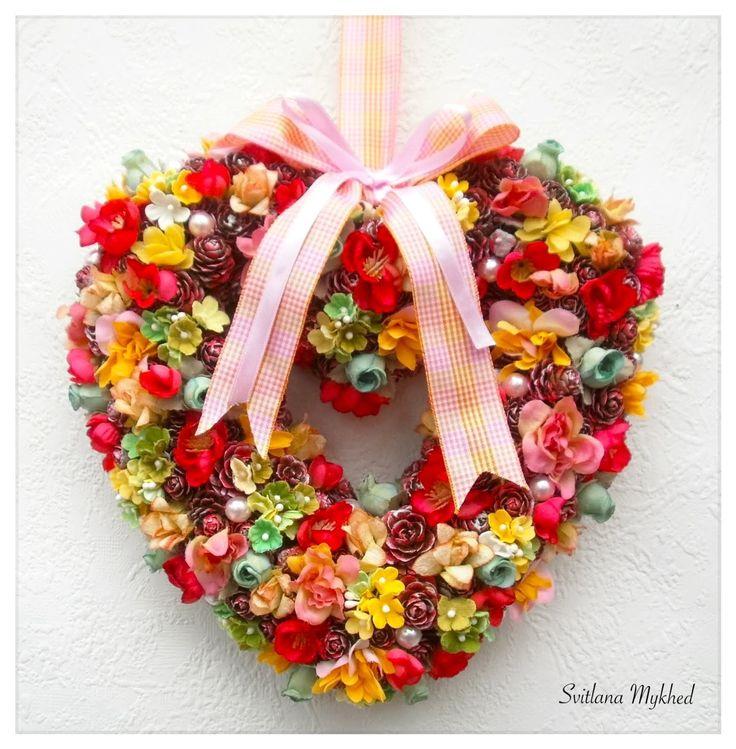 """Couronne en forme de coeur """"Marie"""". Déco mariage. Couronne décorative. Couronne porte d'entrée : Accessoires de maison par perles-et-couronnes"""