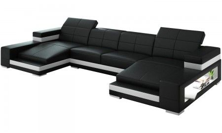 The Aubrey Double Chaise Sectional is simply stunning. Aside from the unique design and ultra modern look, this great sofa includes two side lights that are embedded within the 2 large side shelves. We also offer 16 Italian leather colors so that you can customize the two-tone finish in any color scheme that you would like. Another terrific sectional from Scene Furniture.