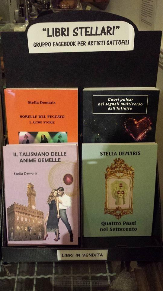 """""""Sorelle del Peccato e altre storie"""", """"Cuori pulsar nei segnali multiverso dall'Infinito"""", """"Il Talismano delle Anime Gemelle"""", """"Quattro Passi nel Settecento"""".  Libri pubblicati da Youcanprint.  http://stella-demaris.blogspot.it"""