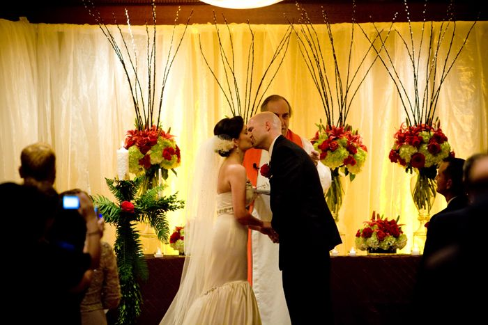Shiny Ivory Organza draping with amber uplighting.