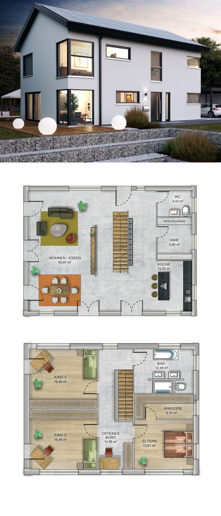 Einfamilienhaus modern mit Satteldach - Fertighaus massiv bauen Grundriss Haus ICON 4 XL Dennert Massivhaus - HausbauDirekt.de
