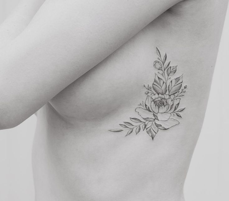 Peony fineline tattoo by Tritoan Ly