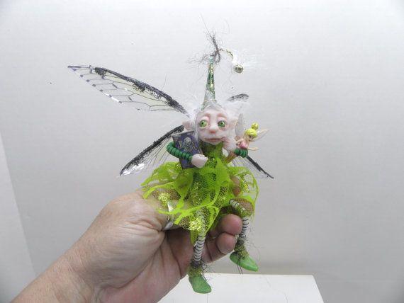 ooak poseable BRIGHT EYES green pixie FAIRY ( 12 ) art doll by DinkyDarlings