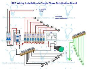 A complete diagram of single phase distribution board with double pole mcb wiring, rcd wiring, volt meter wiring and light indicator.