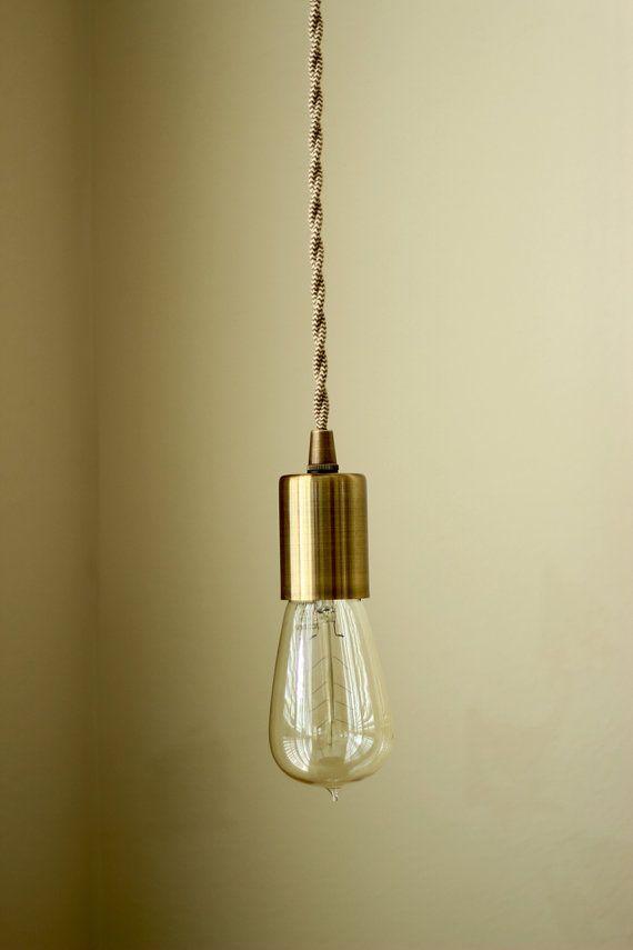 antique brass industrial plug in pendant light bare bulb socket brass edison bulb canopy rayon. Black Bedroom Furniture Sets. Home Design Ideas